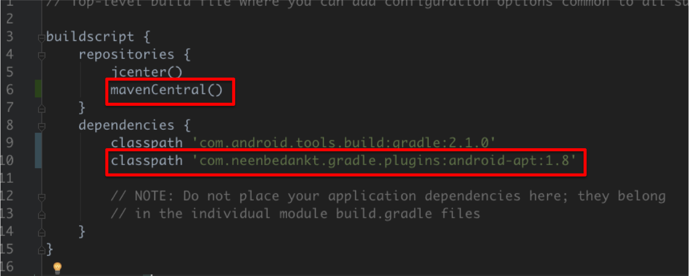 First step to installing butter knife is setting up your gradle repositories